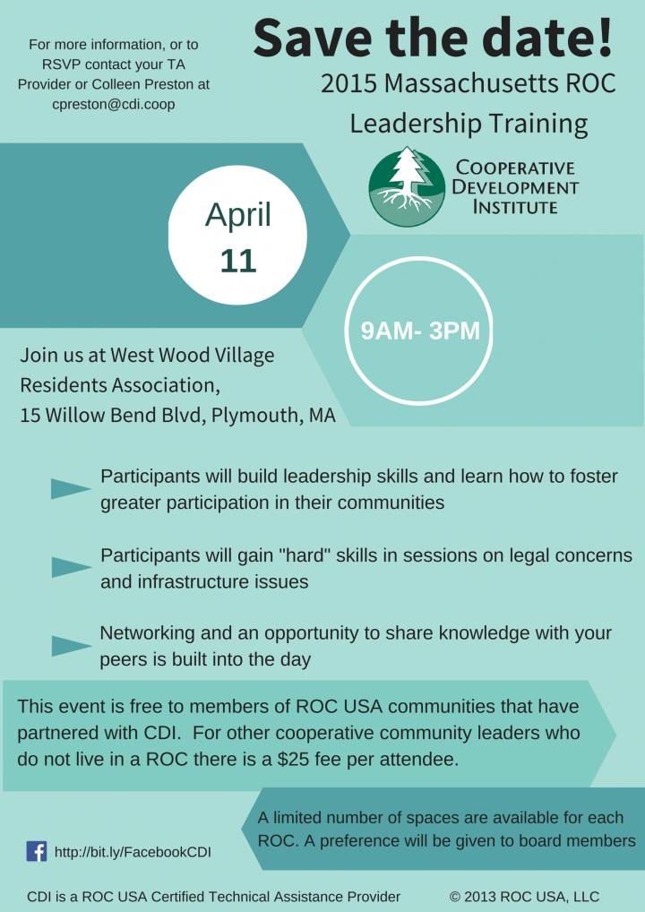 2015 Massachusetts ROC Leadership Training @ West Wood Village | Plymouth | Massachusetts | United States